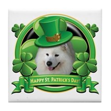 Happy St Patricks Day Samoyed Tile Coaster