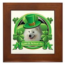 Happy St Patricks Day Samoyed Framed Tile