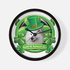 Happy St Patricks Day Samoyed Wall Clock