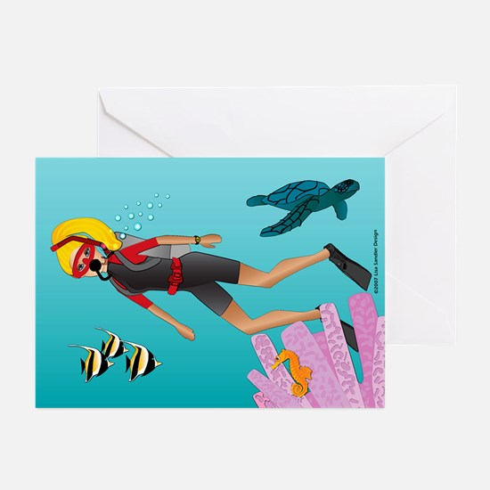 Scuba Scene Woman (bl) Greeting Cards (Package 8)
