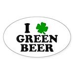 I Shamrock Green Beer Oval Sticker