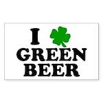 I Shamrock Green Beer Rectangle Sticker