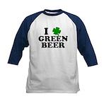 I Shamrock Green Beer Kids Baseball Jersey