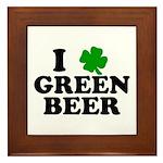 I Shamrock Green Beer Framed Tile