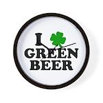 I Shamrock Green Beer Wall Clock
