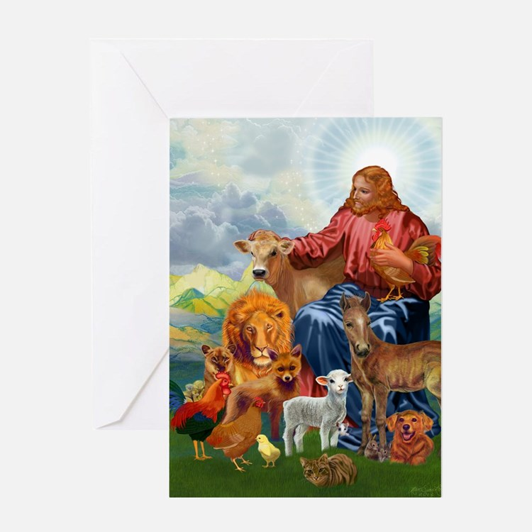 JesusAnimaltee2 Greeting Card