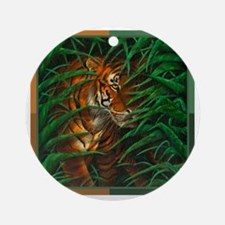 Tiger Stalking 4 colour (T-shirt) Round Ornament