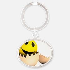 3d-smiley-egg Oval Keychain