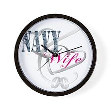 navywifehearts Wall Clock
