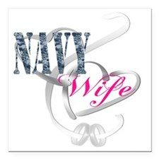 """navywifehearts Square Car Magnet 3"""" x 3"""""""