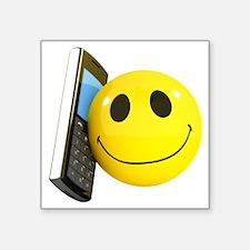 """3d-smiley-mobile Square Sticker 3"""" x 3"""""""