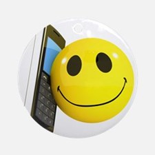 3d-smiley-mobile Round Ornament