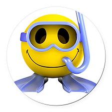 3d-smiley-scuba Round Car Magnet