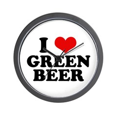 I Love Green Beer Wall Clock