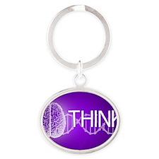 Think Oval Keychain