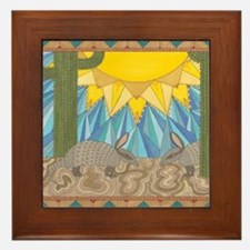 A is for Armadillo Framed Tile