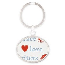PeaceLoveWriters Oval Keychain