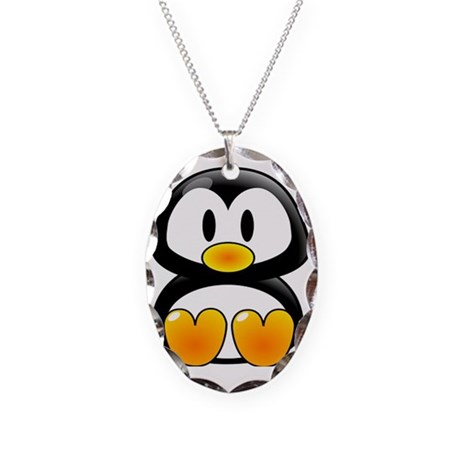 baby Tux Necklace Oval Charm