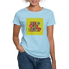 PeaceLoveDragon2Sq T-Shirt