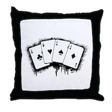 Cute Poker player Throw Pillow