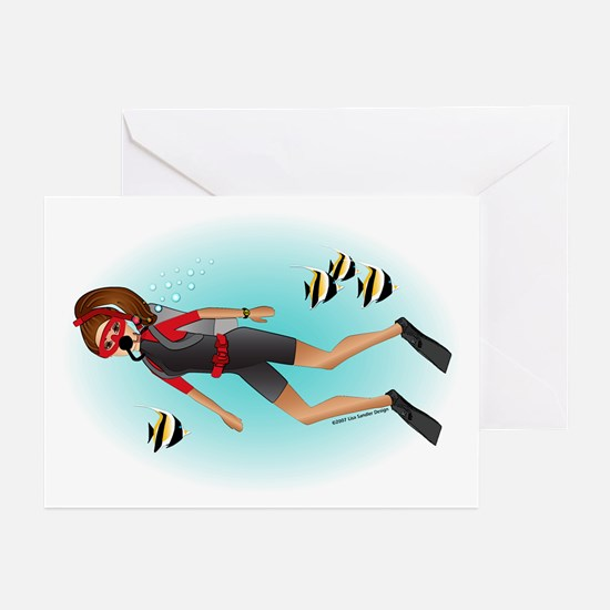 Scuba Woman (br) Greeting Cards (Pk of 10)