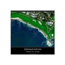 "Pebble Beach 18th Hole Square Sticker 3"" x 3"""