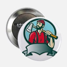 """Lumberjack Forester With Axe 2.25"""" Button"""