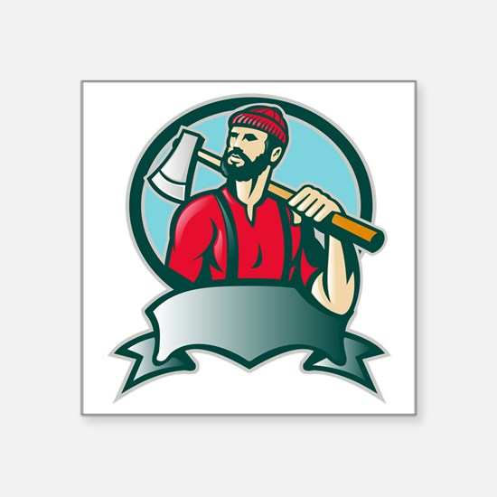 "Lumberjack Forester With Ax Square Sticker 3"" x 3"""