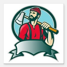 """Lumberjack Forester With Square Car Magnet 3"""" x 3"""""""