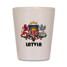 Latvia Coat of Arms Shot Glass