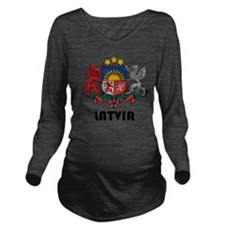 Latvia Coat of Arms Long Sleeve Maternity T-Shirt