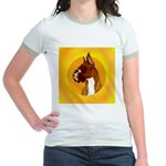 Fawn Boxer Head Study Jr. Ringer T-Shirt