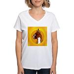Fawn Boxer Head Study Women's V-Neck T-Shirt