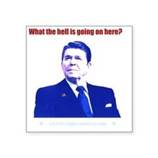 "Ronald Reagan Today Dark Square Sticker 3"" x 3"""