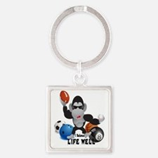 Balance Sports Life Well Square Keychain