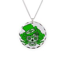 St.Patricks Day Skull 2 Necklace Circle Charm