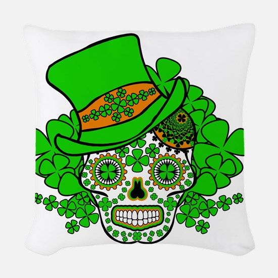St.Patricks Day Skull 3 Woven Throw Pillow
