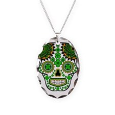 St.Patricks Day Skull 4 Necklace Oval Charm