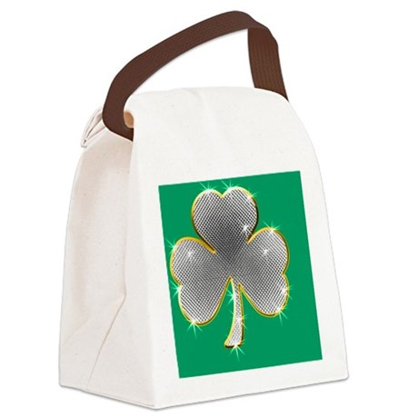 Saint Paddys Day Clover Bling4 Canvas Lunch Bag