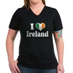 I Love Ireland Tricolor Women's V-Neck Dark T-Shir