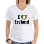 I Love Ireland Tricolor Women's V-Neck T-Shirt
