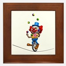 3d-clown-tightropeuni Framed Tile