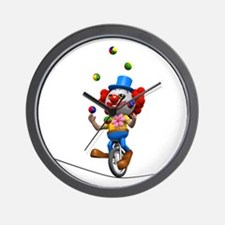 3d-clown-tightropeuni Wall Clock
