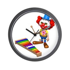 3d-clown-xylophone Wall Clock
