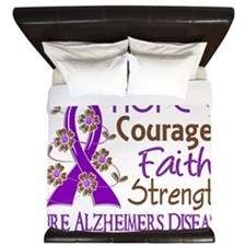 D Hope Courage Faith Strength 3 Alzheim King Duvet