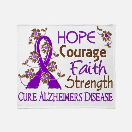 D Hope Courage Faith Strength 3 Alzh Throw Blanket