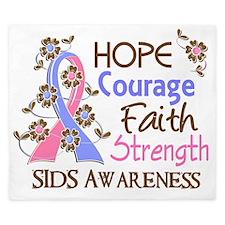 D Hope Courage Faith Strength 3 SIDS King Duvet