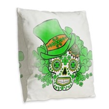 St.Patricks Day Skull Vintage Burlap Throw Pillow