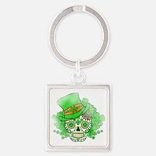 St.Patricks Day Skull Vintage Square Keychain