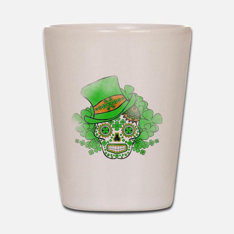 St.Patricks Day Skull Vintage Shot Glass